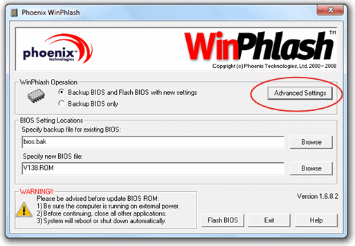 WinPhlash Advanced Settings
