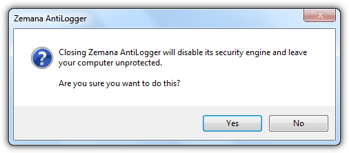 Zemana Exit Confirmation Window